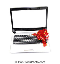 Gift laptop (red bow) isolated on white background