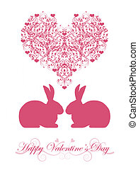 Happy Valentines Day Honeysuckle Pink Bunny Rabbit - Happy...