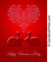 Happy Valentines Day Honeysuckle Red Bunny Rabbit