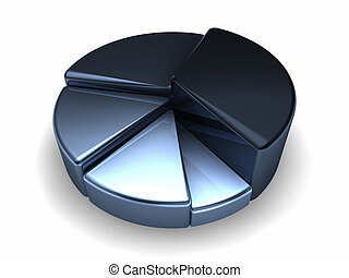 Pie Metallic Chart - Blue metallic pie chart on white...