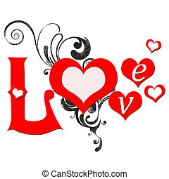 Illustration of love card with hearts