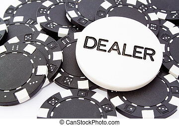 dealer - closeup fo chip dealer and black fiches for...