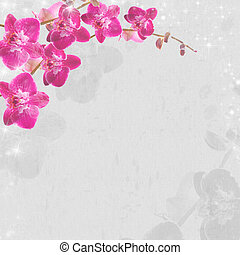 Floral background with orchids Illustration can be used for...