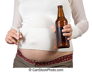 embarazada, mujer, tenencia, Cigarrillo, cerveza