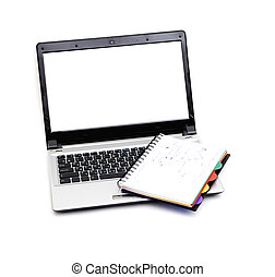 laptop isolated on white background - laptop and book...