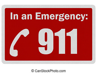 Photo realistic 'Emergency 911' sign, isolated on white -...