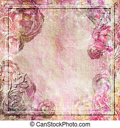Vintage background with roses and swirl border - Vintage...