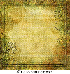 Grunge yellow - green background with swirl border