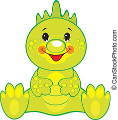 Green Dragon: childrens vector isolated illustration