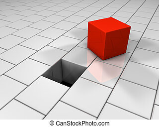 Red Cube - Red cube next to the hole, puzzle, 3d render