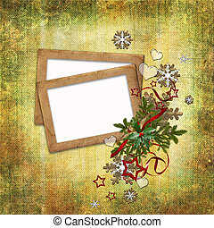 Christmas card in ancient style for a photo, congratulations and