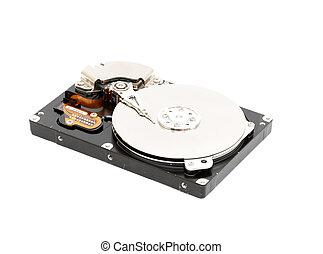 Harddisk - Opened computer harddisk on a white background