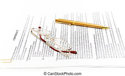 contract - legal contract papers with pen and glasses