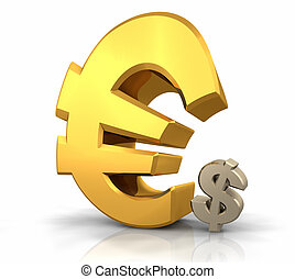 Euro Domination - Large gold euro sign leaning over a small...