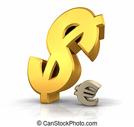 Dollar Domination - Large gold dollar sign leaning over a...
