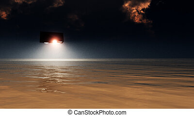 UFO Over The Sea - A UFO that is hovering of the sea