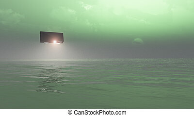 UFO Over The Sea  - A UFO that is hovering of the sea.