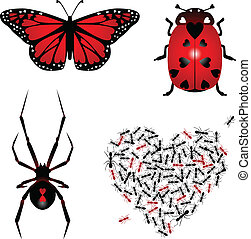 Set of lovebugs - Collection of four insect types with heart...