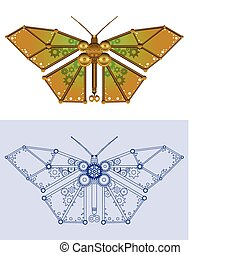 Mechanical butterfly - Robotic butterfly in rendered and...