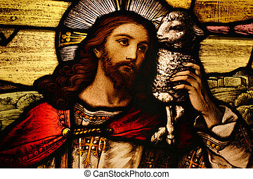 Jesus with Lamb - Stained glass depicting Jesus holding a...