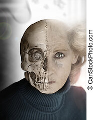 Bone and Flesh - Portrait of woman with half of face as...