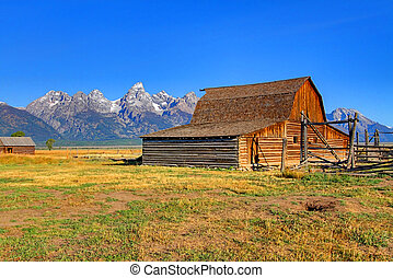 mormón, fila, granero, magnífico, tetons