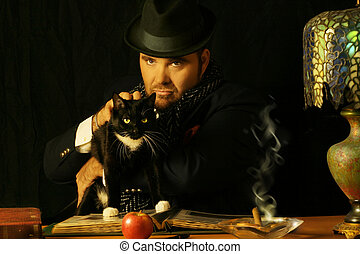man with cat - sinister man sitting at a table with a black...