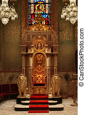 Throne in Cathedral - Bishop's chair in cathedral with lion...
