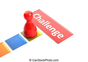 challenge business success concept with pawn on white