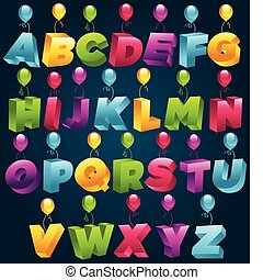 3D Party Alphabet - Set of 3D Alphabet with party balloons