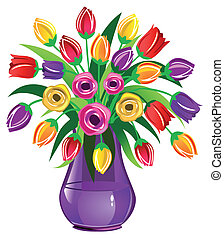 Spring Flowers - Vase full of tulips isolated on white
