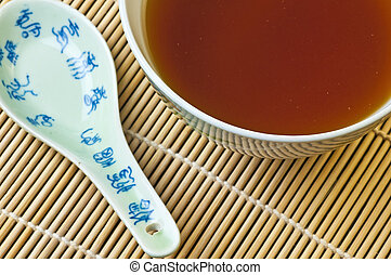 miso soup with miso and chopsticks
