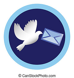 white dove with a letter - vector white dove with a letter
