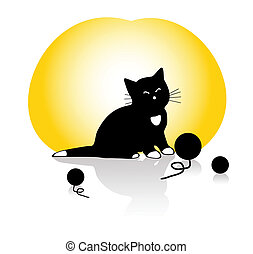 a kitten playing with knitting ball