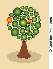 abstrakt, frukt, träd