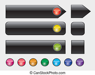 web buttons with colorful lights - vector illustration of...