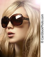 foto, menina, óculos de sol