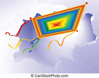 kite - Childrens toy - a kite against the sky in a vector