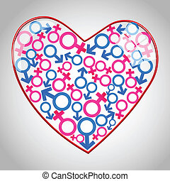 heart with male female icons