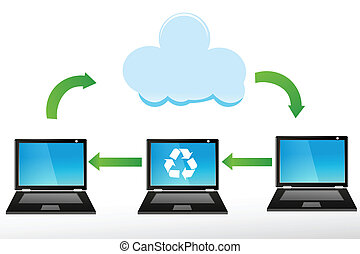 recycle laptops - illustration of recycle laptops on white...
