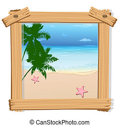 beach view in photo frame - illustration of beach view in...