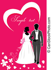 valentine card - illustration of valentine card with couples...