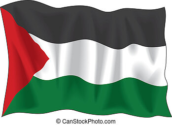 Palestinian flag - Waving Palestinian flag isolated on white