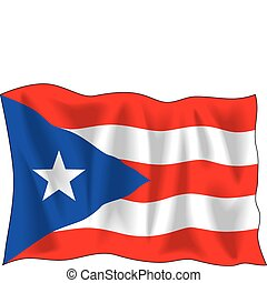 Flag of Puerto Rico - Waving flag of Puerto-Rico isolated on...