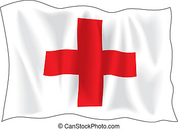 Flag of Red Cross - Waving flag of Red Cross isolated on...