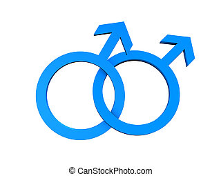 Homosexual Gay Symbol - Gay of symbol in blue color isolated...