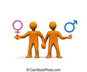 Couple Hetero - A couple of orange cartoons isolated on...