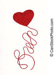 Heart with a thread - Hear with a long thread isolated on...