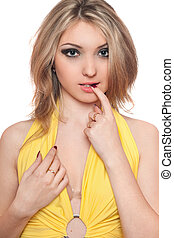 Portrait of pretty young woman. Isolated