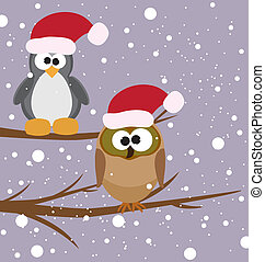 an owl and a penguin - vector illustration of an owl and a...